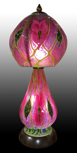 Large Pink & Purple Cypriot Lamp, Pink Irises and Green Vines