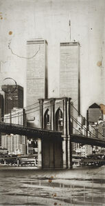 New York Cityscape, 1994 mixed technique on wood 27 3/8 x 14 inches