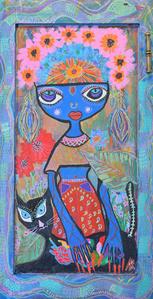 Goddess with Black Cat