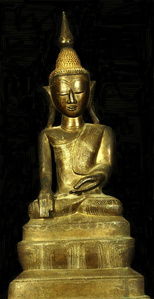 Seated Buddha On High Stepped Throne (Burmese; Shan Style)