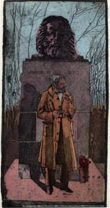Self-Portrait with Karl Marx, Highgate Cemetary, January 1975