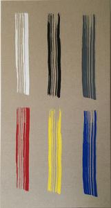 Six hand-drawn brushstrokes screen printed on linen