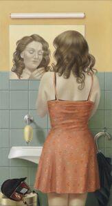 Mädchen vor Toilettenspiegel II