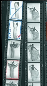 Contact sheet of Jean Paul Gaultier's photographs of Aïtize Hanson