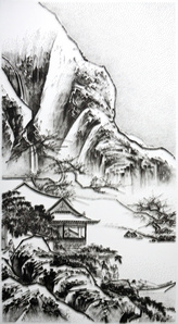 Imitating the Landscape Painting by Anonymous Artist from Song Dynasty 2