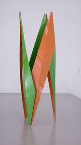 stabile, skulptur grün/orange