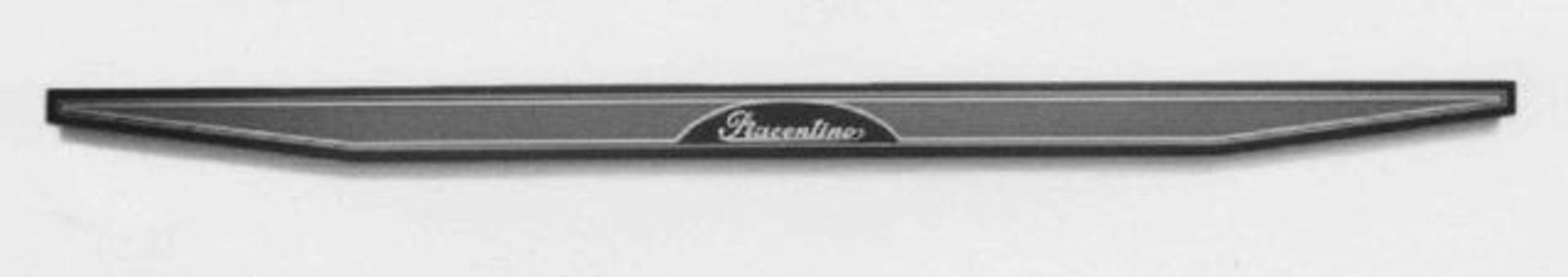 Black-indigo and blue-gray overturned trapezium bar with silver signature