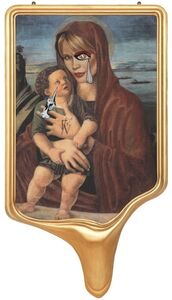 CRYING PORTRAIT OF CLAUDIA SCHIFFER AS A RENAISSANCE MADONNA WITH HOLY CHILD (AFTER BELLINI)