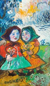 Two Peasant Women With Flowers