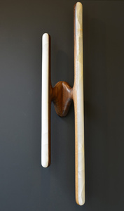 Hand Sculpted Black Walnut and Onyx Sconce