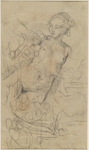 A Reclining Nude with Her Right Arm Raised over a Swift Composition Study [verso]