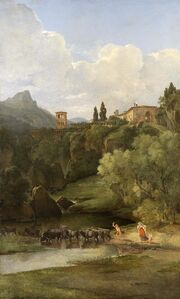 A Mountainous landscape with ramparts and buildings of an Italian village; farmers driving their cattle across a stream below