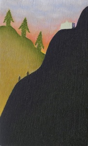 Trees and People Descend a Mountain with Folly