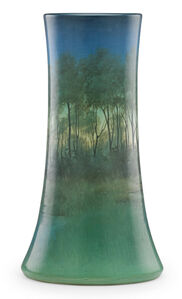 Large Scenic Vellum vase with forest and lake, Cincinnati, OH