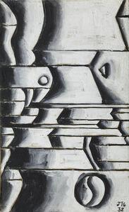 Estructura en blanco y negro con ritmos curvos y oblicuos (Structure in white and black with curved and oblique rhythms)