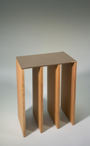 CONSOLE in oak with bronze top by Tinatin Kilaberidze