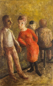 Untitled (Figurative street scene with a woman in a red dress leaning on a balustrade)