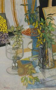 Still Life with Branches and Cherries in an Artist's Studio