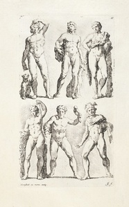 [Six male statues]