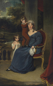 Portrait of Lady Louisa Harvey, full-length, and her children Edward and Louisa, on a balcony