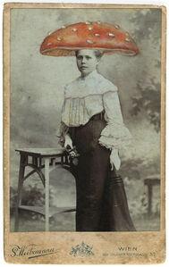 Untitled, Portrait of Woman with Orange Mushroom Hat