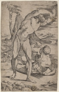 Two Male Nudes Gesturing in a Landscape