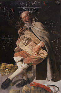 Bad Bets-Blind Hurdy Gurdy Banker after Georges de la Tour's Hurdy Gurdy Player