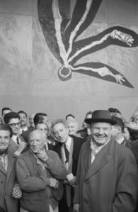 (Left to right) Picasso, Jean Cocteau, and Maurice Thorez (leader of the French communist party), at the unveiling of La chute d'Icare (1958) mural at the UNESCO building, Paris