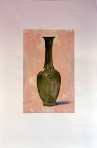 Green Vase on Pink