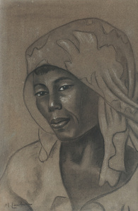 Portrait of a woman with a patterned head scarf