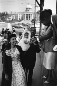 Reverend Martin Luther King, Jr., wife Coretta Scott King and their daughter Yolanda, Bus Boycott, Montgomery, Alabama