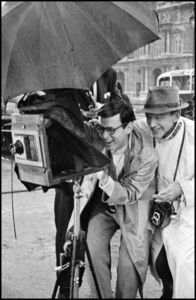 Richard Avedon, fashion photographer and technical director, advising Fred Astaire on his role as a photographer (The Tuileries Gardens, Paris)