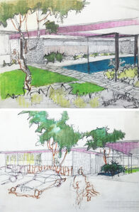 Pair of perspective elevation drawings for the Mariners Medical Art Center, Newport Beach, CA