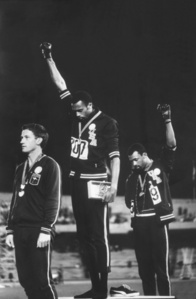American Track and Field athletes Tommie Smith and John Carlos, First and Third Place Winners in the 200 Meter Race, Protest with the Black Power Salute