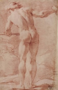 A standing male nude seen from behind, his right arm outstretched