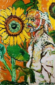 Self portrait with sunflowers