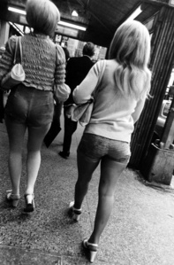 Untitled (two women in shorts walking)