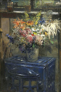 Flowers on a Blue Stove