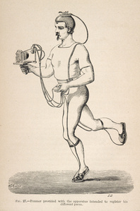 Fig. 27: Runner provided with the apparatus intended to register his different paces