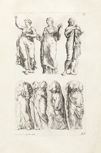 [Seven draped female statues]