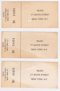 """Mudd Club Admission Tickets"", NYC"
