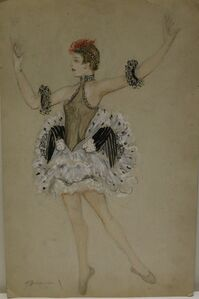 Watercolor by Nathalie Gontcharova, ballet costume, France, Art Deco, 1920's.