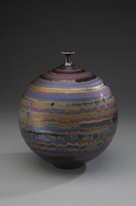 Vase, blue hare's fur and brown glaze