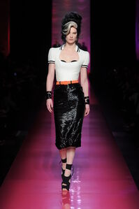"""One of the designs in Jean Paul Gaultier's """"Tribute to Amy Winehouse"""" women's haute couture spring-summer collection of 2012"""