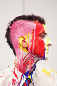 Areas for Action, Day 17: Mondrian Miek (Ian) Ian with paint and partially shaved head Meulensteen Gallery, New York, NY
