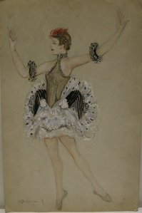 Watercolor by Nathalie Gontcharova, ballet costume, France, Art Deco, 1920's.