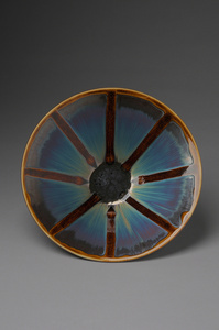Bowl, blue hare's fur and brown glaze