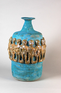 Matte Turquoise Bottle with Gold Luster Figures