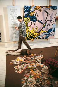 "Roy Lichtenstein (1923 - 1997)  with sons David and Mitchell, West 26th Street studio, New York, 1964 with ""We Rose Up Slowly"""