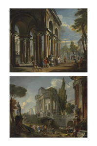 Capriccio of a classical loggia; and Capriccio of palaces with giochi d'acqua